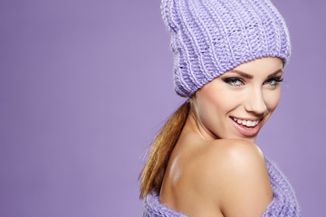 Beautiful winter woman in warm clothing