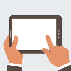 Businessman holding tablet computer with blank screen 2