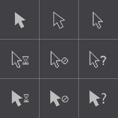 Vector black mouse cursor icons set