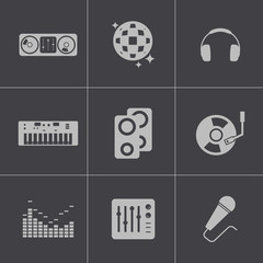 Vector black dj icons set