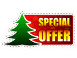 special offer and christmas tree on red banner with snowflakes