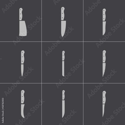 Vector black kitchen knife icons set