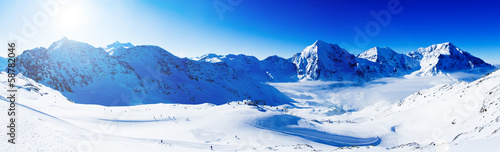 canvas print picture Winter mountains, panorama of the Italian Alps