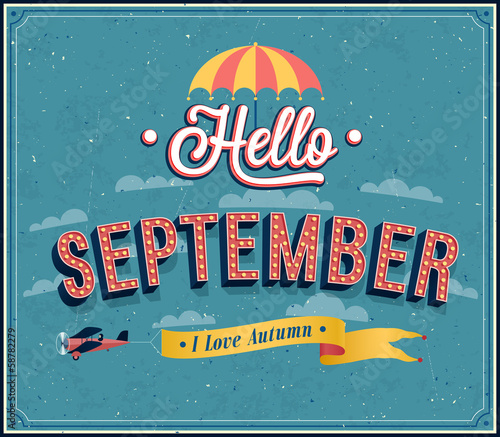 Hello september typographic design.