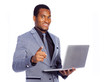Portrait of a smiling business man holding a laptop, isolated ov