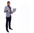 Smiling business man holding a laptop, isolated over a white bac