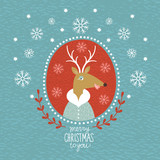 Cute Christmas Deer, portrait