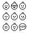Baby boy faces, avatar vector icons set