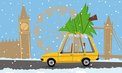 cartoon car with a christmas tree in london