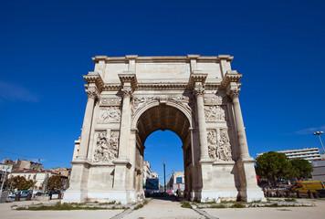 Triumphal arc Porte d Aix (circa 1839). Marseilles, France