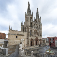 Cathedral and square of SAnta Maria in Burgos, Castilla, Spain.