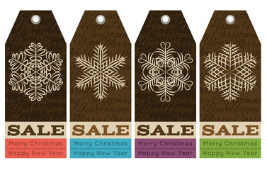 vintage christmas labels with sale offer, vector