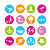 plane icons set, airplane icons, color buttons