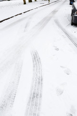 Tyre tracks in snow