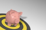 Piggy bank - pink pig on yellow target circles
