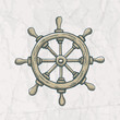 Vector illustration of steering wheel on the old paper