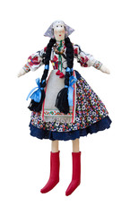 Isolated handmade doll in the national Ukrainian costume with tw
