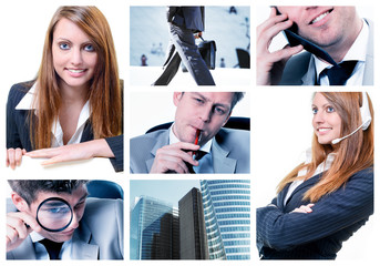 Collage of business team posing and working at the office