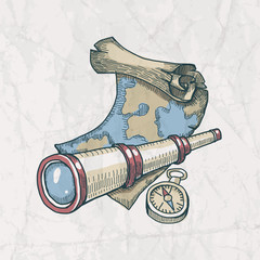 Vector illustration of spyglass, map and compass on the old pape