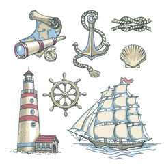 Set of vector nautical illustrations