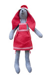 Isolated handmade doll hare with red ears in red apron