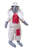Isolated handmade doll bunny in homespun jacket, pants with pock
