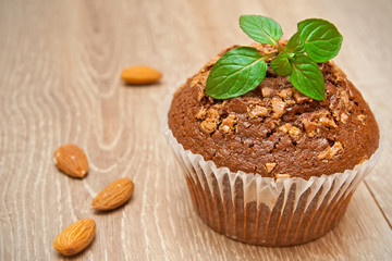 Chocolate muffin with mint