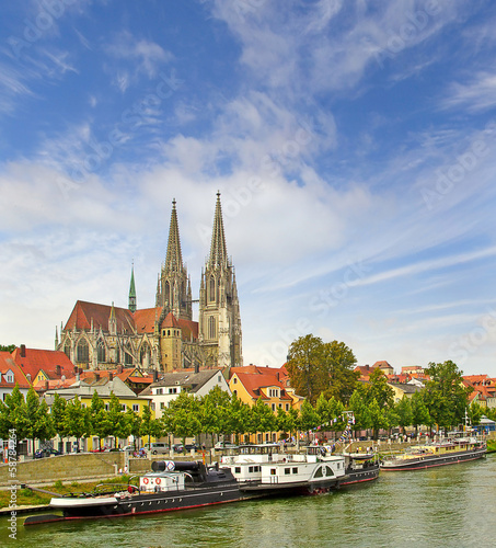 View of Regensburg embankment, Bavaria, Germany, UNESCO WH Site