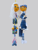 Handmade dolls toys isolated thin cheerful girls in fashionable