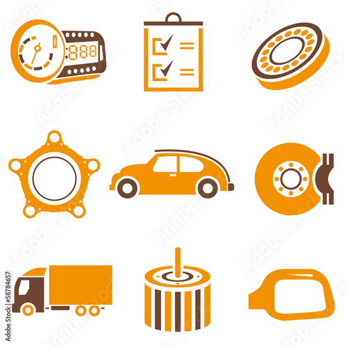 auto icons set, orange theme