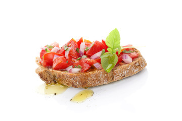 Bruschetta with olive oil.