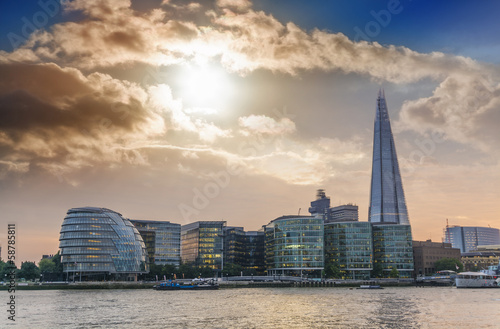 Sunset on the new London skyline