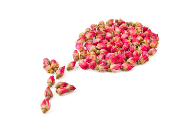Dried herbal tea rose flower buds