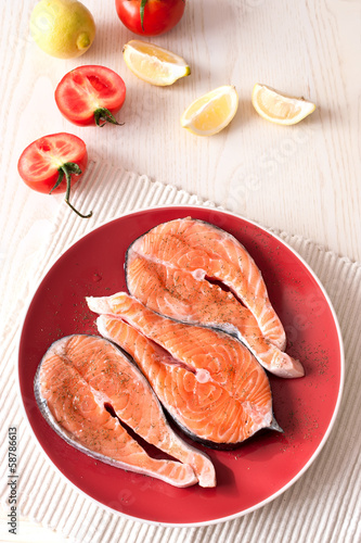 Fresh salmon fish steaks