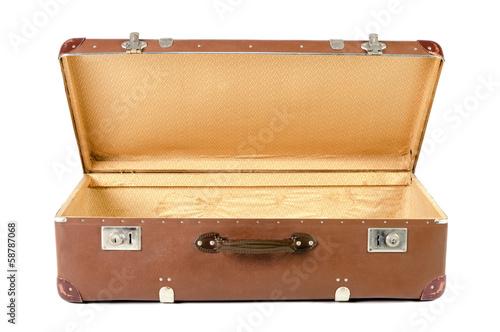 canvas print picture alter Koffer geöffnet vor weißem Hintergrund