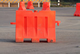 Portable traffic barrier on the road