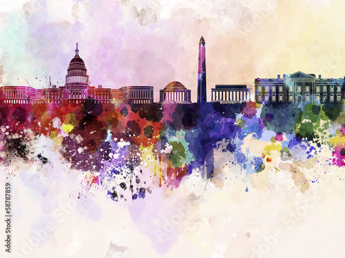 Washington DC skyline in watercolor background - 58787859