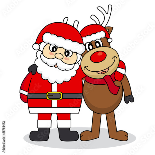 Santa Claus and reindeer friends