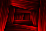 Red curtain frame illusion