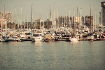 sailboat in Port Vell in Barcelona. Catalonia