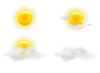 Sun and clouds in weather icons set