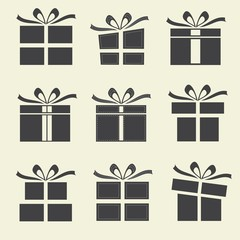 Gift boxes - 9 icons/ silhouettes of gift boxes.