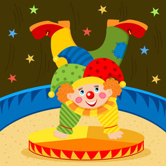clown on stage - vector illustration