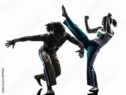 couple capoiera dancers dancing   silhouette - 58791037