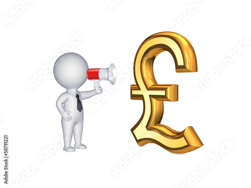 3d person and sign of pound sterling.