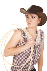 woman hat rope plaid shirt look side