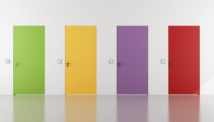 Colorful doors flush with the wal