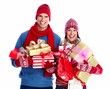Happy couple with christmas gifts.