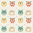 Colored pets pattern with cat, dog, mouse and cow
