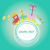 children train illustration with giraffe and gift - 58792801